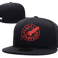 HAIHONG Futurama Planet Express Logo Adjustable Snapback Embroidery Hats Caps - Black