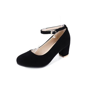 Ankle Strap High Heel Round Head Pumps