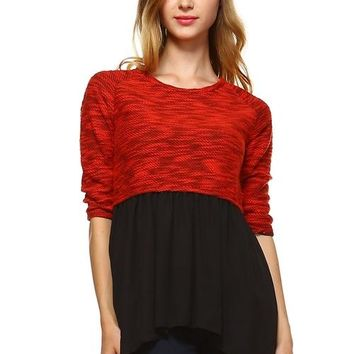 Womens Knit to Woven 3/4 Sleeve Colorblock Shirt