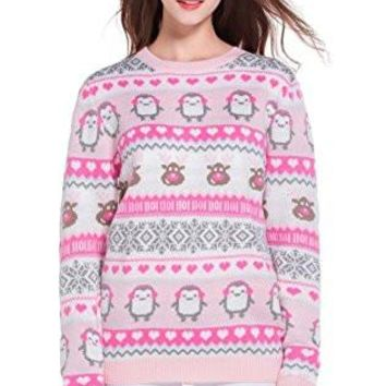 Women's Christmas Cute Reindeer Snowflakes Knitted Sweater