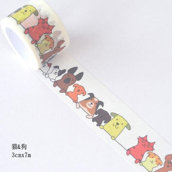 JI103 3cm Wide Funny Cat & Dog Decorative Washi Tape DIY Scrapbooking Masking Tape School Office Supply Escolar Papelaria