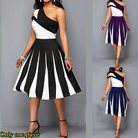 Fashion Sell Big Size Asymmetrical Spliced Single Shoulder Evening Dresses Only one piece