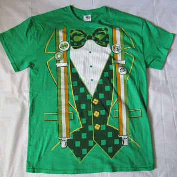 14-0810 Green Irish Tuxedo T Shirt / Novelty T Shirt / Green T Shirt / Irish  / Cotton T Shirt / Size M / T Shirt