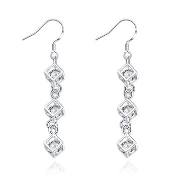 Whitehead Checkered Silver Earring