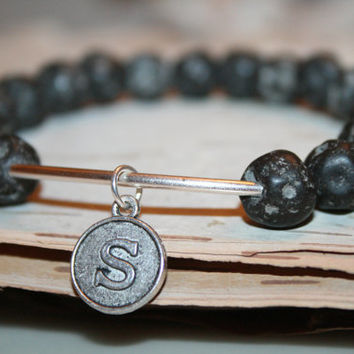 Personalized Jewelry,Initial Bracelet,Natural Lava Stone, Black Bracelet, Stacking Bracelet, Healing Jewelry, Mala Beads ,Beaded Bracelet
