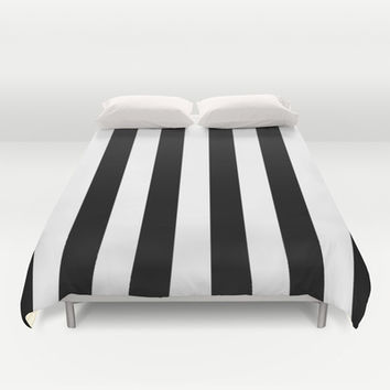 Black and White Stripes Duvet Cover by Laura Ruth