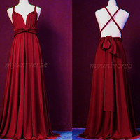 Formal Infinity Dress Plum Bridesmaid Dress Wrap Maroon Dress Wedding Maxi Dress Women
