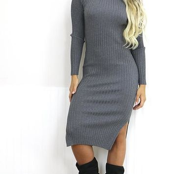 Grey High Neck Long Sleeve Midi Bodycon Ribbed Sweater Dress