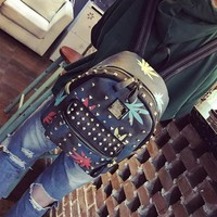 Korean Women Backpacks Fashion Small Rivet Double Shoulder Bag PU Leather Backpack School Solid Bags Backpack Women Travel Bag