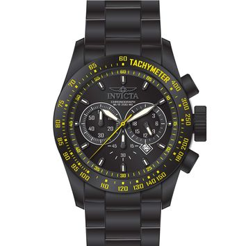 Invicta 19297 Men's Speedway Yellow Accented Black Bezel Black Dial Chrono Dive Watch