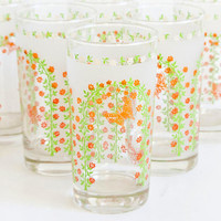 Libbey Butterfly Tumblers, SET of 6 Garden Print Water Drink Glasses, Vintage 1960s Green Orange