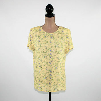 Yellow Floral Top Women Oversized Shirt Rayon Short Sleeve Blouse Boxy Top Small Medium Vintage Clothing Womens Clothing