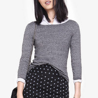 Marled Fitted Bateau Neck Sweater from EXPRESS