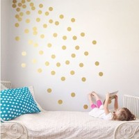 "Vinyl Polka Dot Removable Wall Decals (Gold, 3"")"