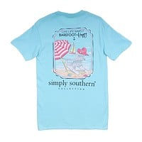 Preppy Barefoot and Happy Tee in Marine by Simply Southern