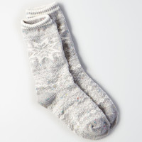 AEO Sweater Print Crew Socks, Light Heather