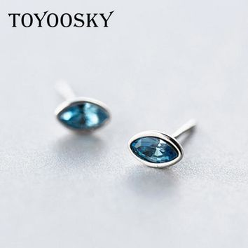TOYOOSKY Wholesale 925 Sterling Silver Waterdrop Stud Earrings Fashion Jewelry Red Blue Earrings for Women