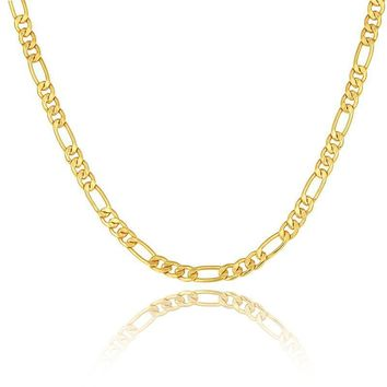 Gold color Men Necklace Jewelry Stainless Steel 5 Sizes 6MM Trendy Long Figaro Chain Necklace N722