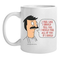 "Bob's Burgers Bob ""I Would Fire All Of You"" Quote Licensed Coffee Mug - White"