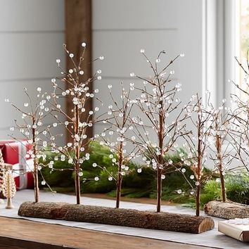 Lit White Berry Drop Tree Centerpiece