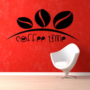 Coffee Beans Wall Decals Coffee Time Words Cafe Kitchen Bar Wall Decor Vinyl Sticker Home Decor Vinyl Art Wall Decor Nursery Decor KG68
