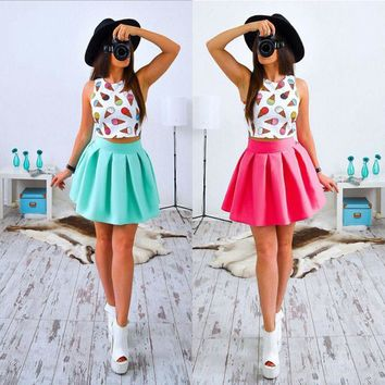 2017 Summer Dress New Style Sexy Women Print Mini Party Cute Dresses Casual Fashion Female Floral Two Pieces Clothing