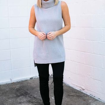 Share the Love Sleeveless Sweater in Grey