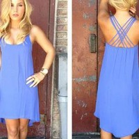 Purple Sleeveless Asymmetric Dress with Criss Cross Back