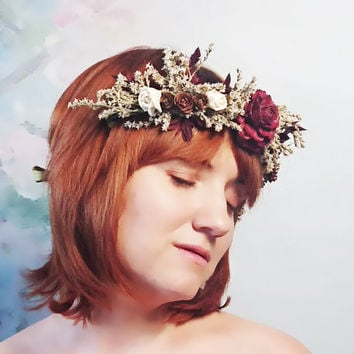 Dried flower CROWN / WREATH burgundy cedar rose ivory sola flowers tiny cones rustic wedding gold ribbon Flower girl Bride fall autumn