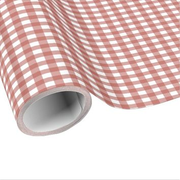 Red Plaid Gingham Wrapping Paper
