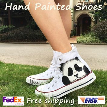 Wen White Hand Painted Canvas Shoes Original Design Custom Cute Panda Boys Girls High Top Canvas Sneakers Men Women's Gifts