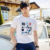 Summer Men's Fashion Slim Geometric Pattern Short Sleeve Stylish Round-neck T-shirts [7951250435]