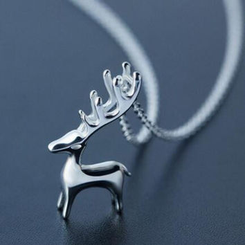 Womens 925 Sterling Silver 3D Deer Pendant Necklace Girls Superior Quality Christmas Necklace Gift 93