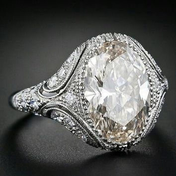 Vintage Style Jewelry Oval White  Imitation White Sapphire 925 Steriling Silver Women Engagement Wedding Ring Size 6 7 8 9 10