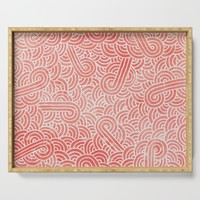 Peach echo and white swirls doodles Serving Tray by savousepate
