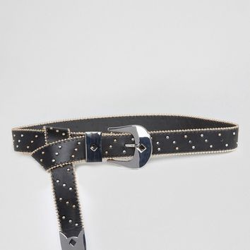 ASOS Ball Edge Studded Long Tipped Hip And Waist Belt at asos.com