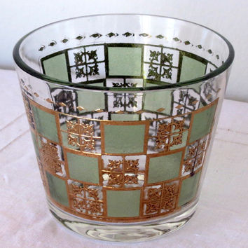 Mid Century Glass Ice Bucket- Green & Gold Culver Style- Hollywood Regency- MAD MEN