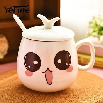 YEFINE New Arrival Cartoon Personalized Expression Cups And Mugs Ceramic Cute Porcelain Tea Cup Coffee Mug With Lid + Spoon