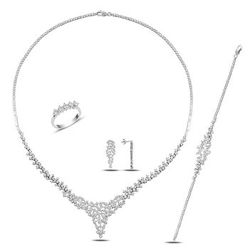 5 row stone set necklace bracelet earring ring with cz stones and 925 sterling silver