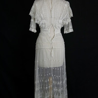 Antique Edwardian Tambour Lace Gown Vintage 1900s Wedding or Tea Dress ON SALE!