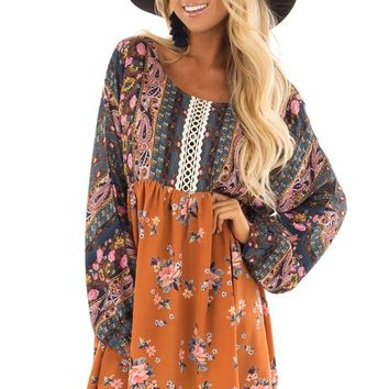 Ginger and Dark Blue Boho Dress with Sheer Embroider Detail