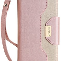 iPhone 8 Plus / 7 Plus Wallet Case, ProCase Flip Fold Card Case Stylish Slim Stand Cover with Wallet Case for Apple iPhone 8 Plus / iPhone 7 Plus -Pink
