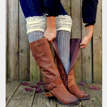 Hollow out mesh over-the-knee double-color fold agaric edge boot leg warmers cotton socks Grey