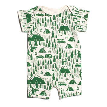Green Campground Organic Romper by Winter Water Factory