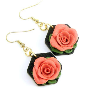 Rose Floral Earrings, Polymer Clay Jewelry, Dangle Coral Art Earrings, Jewelry for Women, Handmade Earrings, Flower Earrings, Boho Earrings