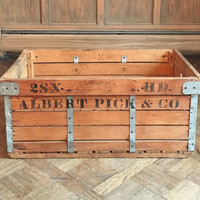Large Vintage Wood Crate, Albert Pick & Co. Chicago, Antique Wood Shipping Crate, Wood Potato Crate