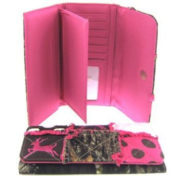Patchwork Leaf Camo Wallet Camouflage Deer and Polka Dots (Pink Wallet)