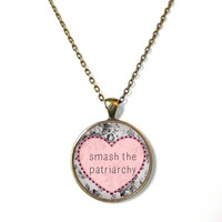 Floral Feminist smash the patriarchy Necklace - F*ck the Patriarchy Pop Culture Feminism Jewelry - Pastel Goth Soft Grunge Necklace
