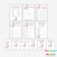 Pink Gray Baby Shower Games Bundle, games pack, elephant baby shower game pack, baby shower games girl sign Printable Download EL0005-lp