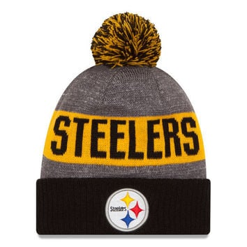 NFL Pittsburgh Steelers New Era Heather Gray 2016 Sideline Official Sport Knit Hat